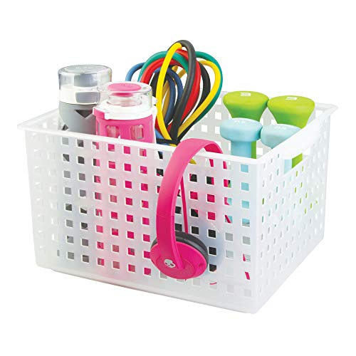 InterDesign Household Storage Basket, for Closet, Office, Garage, Bathroom and more - Large, Frost