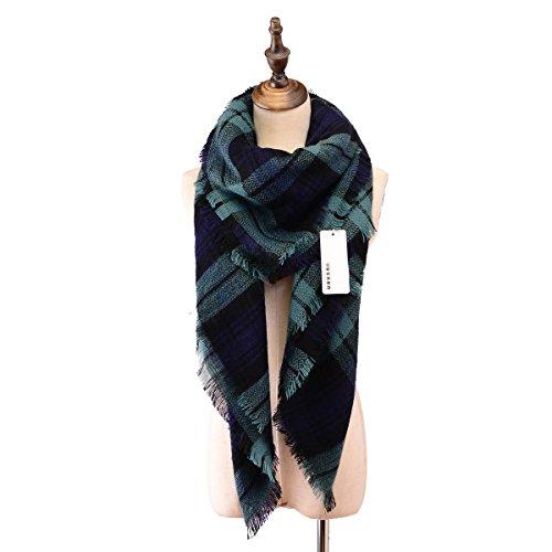Women Plaid Blanket Thick Winter Scarf Tartan Chunky Wrap Oversized Shawl Cape
