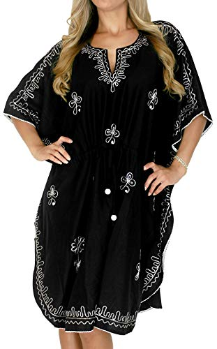 LA LEELA Rayon Solid Swim Dress Ladies OSFM 14-28 [L-4X] Black_1423