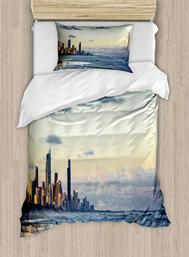 Lunarable Australia Duvet Cover Set, Sunset Photo of Gold Coast Queensland Ocean and Modern Architecture, Decorative 2 Piece Bedding Set with 1 Pillow Sham, Twin Size, Multicolor (Queensland Furniture Outdoor)