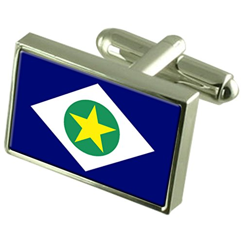 Mato Grosso Sterling Silver Flag Cufflinks in Engraved Personalised Box by Select Gifts