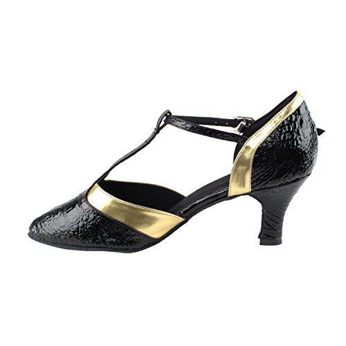 Gold Pigeon Shoes Party Party SERA3551 Comfort Evening Dress Pumps, Wedding Shoes: Women Ballroom Dance Shoes Medium Heel 3551- Black Velvet & White Snake Trim