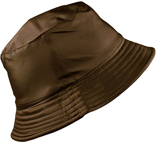 (YJDS Women's Rain Hat Waterproof Wide Brim Packable Dark Coffee)