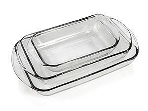 Auflaufformen-Set mit Griffen 3-tlg. aus Glas 1/2/3 Liter backofenfest...