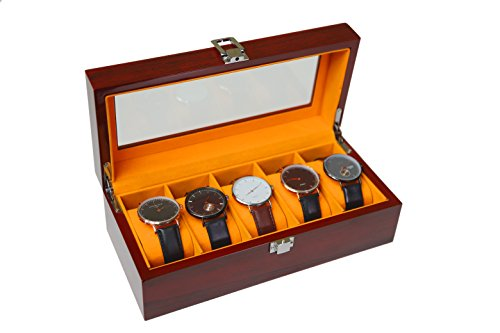 Easby Manor Watch Case 5 Slot Beautiful Cherry Wood Watch Box for Men Watch Box Display Case Plush All Size Apricot Pillow Watch Organizer
