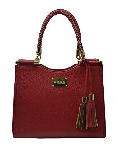 Wholesale Designer Purses (Bebe Women's Natalie Shopper Handbag Tote Shoulder Bag with Braided Handle (Deep Red))