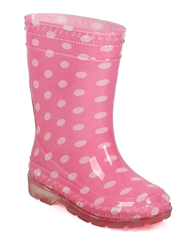 Soda EF30 Women Jelly Polka Dot Pull On Counter Rain Boot (Toddler/ Little Girl/ Big Girl) - Pink (Size: Little Kid 13) (Pink Soda Shoes compare prices)