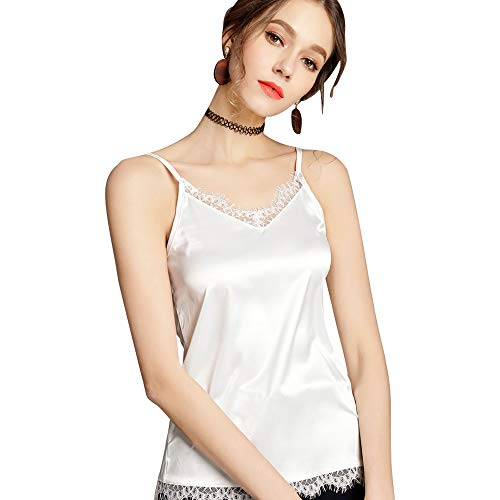 Neckline Camisole - Runbery Sexy Women's Silk Tank Top Ladies Camisole Silky Loose Sleeveless Blouse Tank Shirt with Soft Satin White