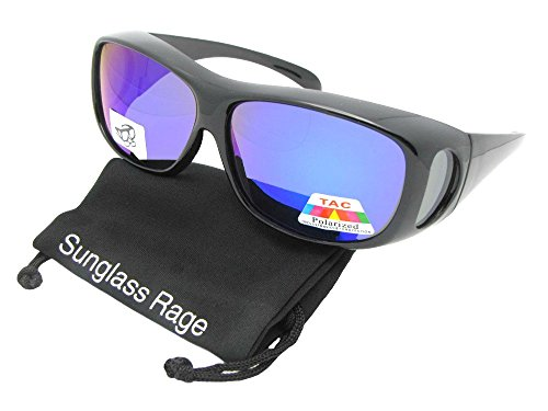 Style F1 Medium Mirror Polarized Lenses Fit Over Sunglasses With Sunglass Rage Pouch (Black Frame-Blue Mirrored Gray Lenses, 2 - Mirror F1