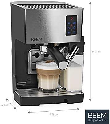 Beem Classico - Cafetera de espresso con filtro (19 bares, depósito de leche integrado y boquilla de vapor, depósito de agua extraíble, 1.450 W), ...