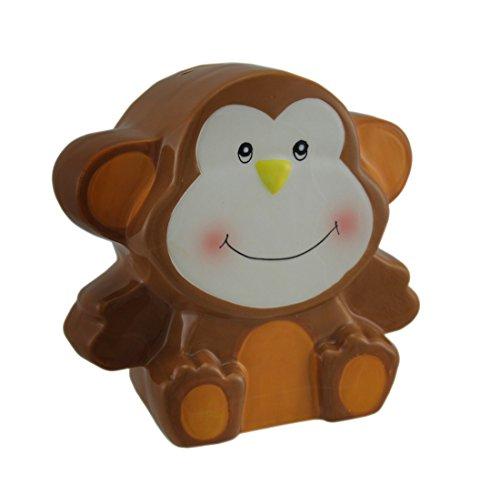 (Zeckos Adorable Brown Ceramic Monkey Kids Money Bank)