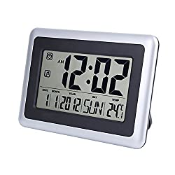 EWTTO 2138 Large Display Digital Wall Desk Alarm Clock with Date Calendar & Temperature (Silver) (13inch) (2138)