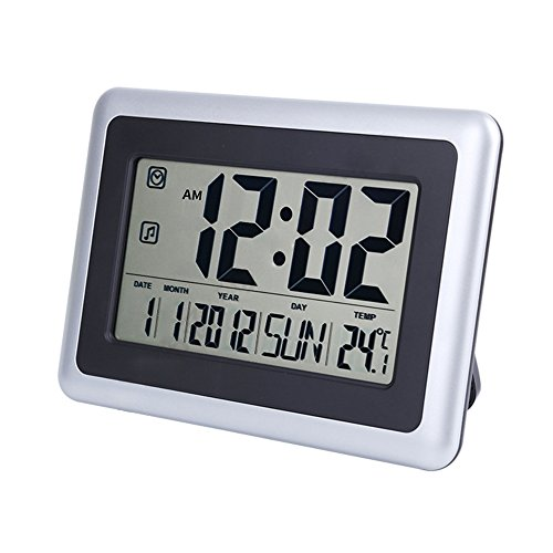 Hanging Desk Clock (Large Display Digital Wall Desk Alarm Clock with Date Calendar & Temperature (Silver) (2138 Clock with Indoor Temp))