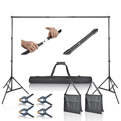 Emart Photo Video Studio 10Ft Adjustable Background Stand Backdrop Support System Kit with Carry Bag -