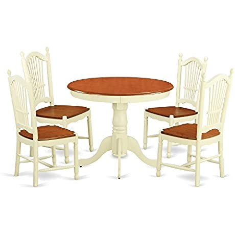 East West Furniture ANDO5 WHI W 5 Piece Kitchen Nook Dining Set For 1 Dinette Table And 4 Kitchen Dining Chairs