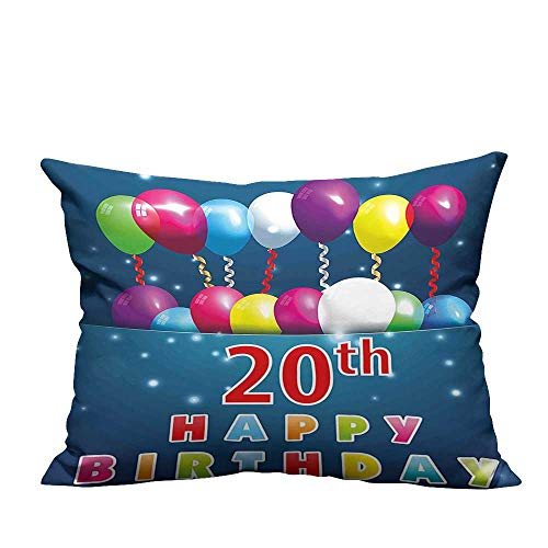 YouXianHome Zippered Pillow Covers Sweet 20 Birthday Party with Colorful Balloons on Blue Backdrop Decorative Couch(Double-Sided Printing) 20x35.5 inch
