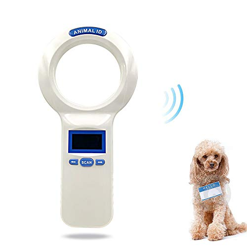 WHZWH Animal Chip Reader, Animal Scanner,Pet ID Microchip Scanner High Brightness LED Display 1000 Pieces Tag Information Storage Animal Tracking (25 Led Microchip)