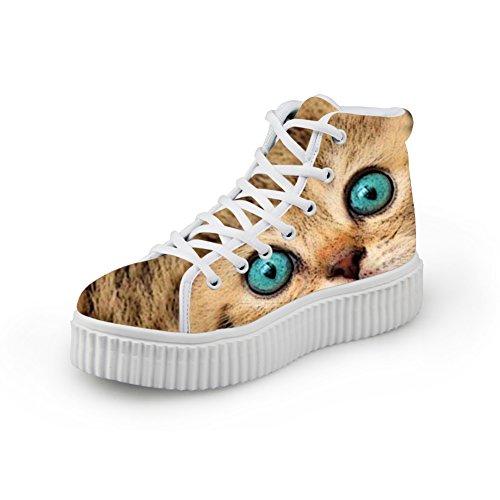Kramar Idé Mode Katt Ansikte Print Kvinnor Sneakers Kängor Plattform Katt Ansikte 7