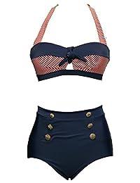 Bslingerie Ladies Retro Vintage Push up High Waisted Bikini Swimsuit Plus Size