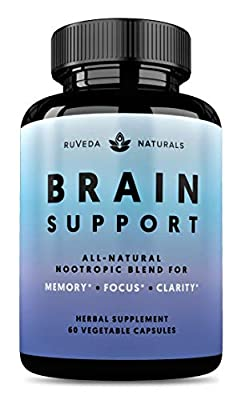 Brain Supplement - Natural Nootropic Brain Booster for Focus, Energy, Memory, Mood, Clarity, and Brain Support with Lions Mane, Ginkgo Biloba & Bacopa Monnieri, Memory Supplement & Focus Supplement