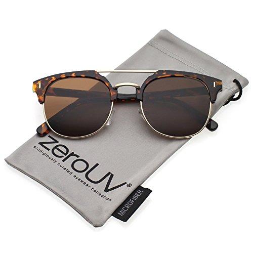 zeroUV - Classic Horn Rimmed Crossbar Round Flat Lens Half Frame Sunglasses 50mm (Tortoise-Gold / - Gold Tortoise