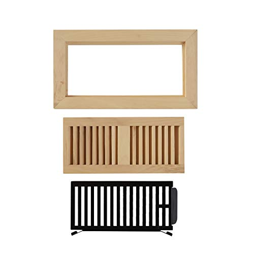 WELLAND 4X10 Hickory Wood Flush Mount Floor Register Vent Cover Grille Unfinished with Damper, 3/4