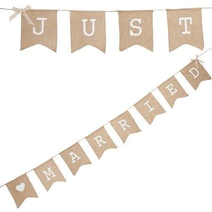 "Musuntas guirnalda de tela cadena banderín ""Just Married"", 4 m - Sábanas"