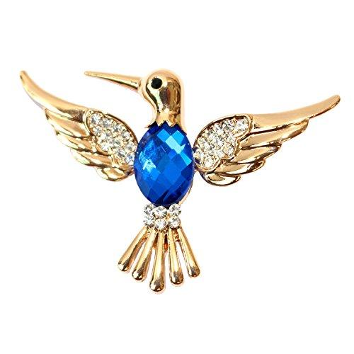 Navachi 18k Gold Plated Blue Crystal Bird Hummingbird Az7007b Brooch Pin