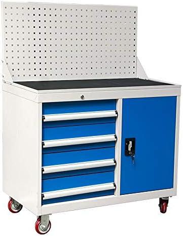 ユーティリティビークル ヘビーデューティハードウェアツールの多機能自動修復ワークショップキャビネット工業用グレードの肥厚引き出しモバイル 安全防護 (Color : Blue, Size : 100x50x85cm)