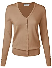 MAYSIX APPAREL Long Sleeve Lightweight Button Down V Neck Knit Sweater Cardigan For