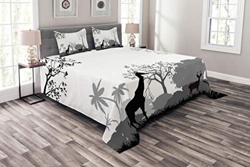 Lunarable Safari Coverlet Set Queen Size, Silhouette of Savannah with Giraffe Deer and Trees Wild African Safari Region Theme, Decorative Quilted 3 Piece Bedspread Set with 2 Pillow Shams, Grey White ()