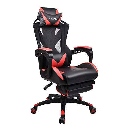 Office Racing Video Gaming Chair Executive Swivel PU Leather Seat High Mesh Back Chair Footrest Lumbar Support Headrest (2# Red Mesh Back)