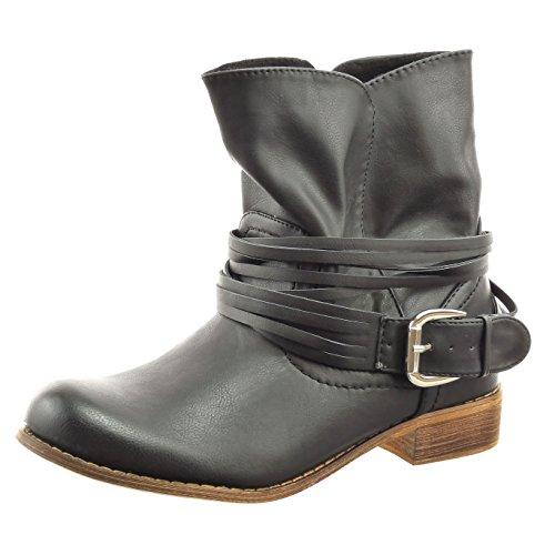 Sopily - Scarpe da Moda Stivaletti - Scarponcini cavalier alla caviglia donna tanga fibbia Tacco a blocco 3 CM - Nero