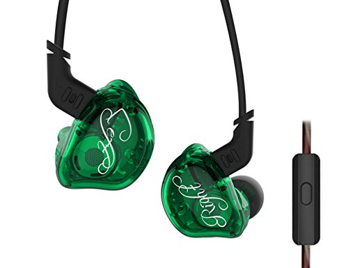 KZ ZSR 1DD+2BA 0.75mm 2pin Detachable Cable In Ear Earphone Hybrid Unit OFC Cable 3.5mm Connector Bass Stereo Noise Cancelling Monitor HIFI DJ Running Sports Headphone NICEHCK … (Green with mic) by KZ