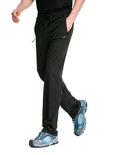 Trailside Supply Co. Men's Light Weight Stretch Elastic-Waist Drawstring Track Running Gym Pants Large Black by Trailside Supply Co. (Image #2)