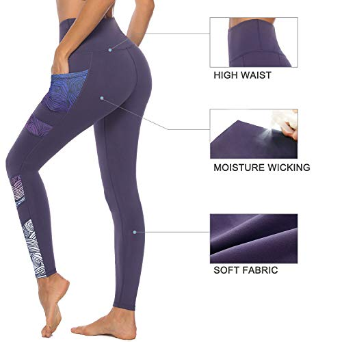 Persit Women's Printed Yoga Pants with 2 Pockets, High Waist Non See-Through Tummy Control 4 Way Stretch Leggings 4