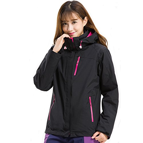 Moonbasa梦芭莎 Women Heated Jacket Windbreaker & Detachable Liner Hoodie for Hiking Climbing (Detachable Jacket Liner)