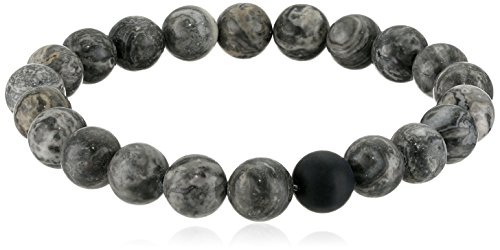 Crucible Jewelry Mens Polished Jasper and Matte Onyx Beaded Stretch Bracelet (10.5mm Wide), Grey, One ()