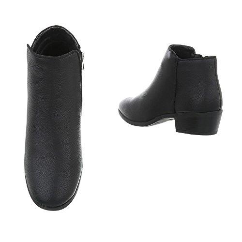 clásicos A para Tacón Negro Botines vaquero Botas Zapatos 46 de mujer Design Ital U0xdqdRP