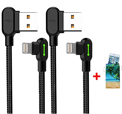 (2 Pack + iPhone Bag) USB 90 Degree Right Angle Design Gaming iPhone LED Nylon Braided Sync Charge New USB Reversible Data 6FT/1.8M Cable Compatible iPhone/iPad Pro/Air ,iPad mini,iPod (6FT Black) by MCDODO (Image #1)