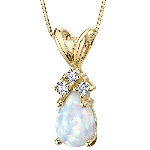 14 Karat Yellow Gold Pear Shape Created Opal Diamond Pendant (Opal Diamond Necklace)