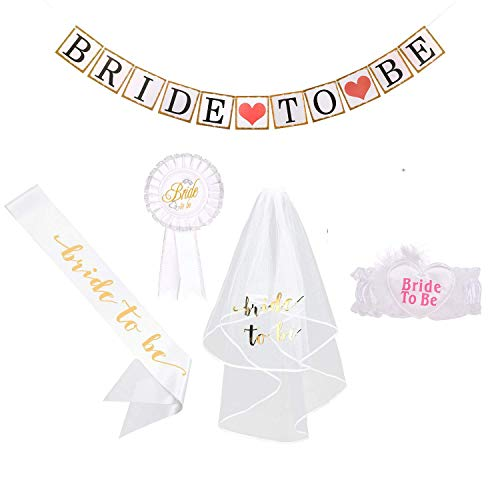 Bachelorette Party Supply Bride to be Decoration Set Rhinestone Tiara,Bridal Wedding Veil,Bride to Be Sash,Rosette Badge and Garter for Bridal Shower Decorations