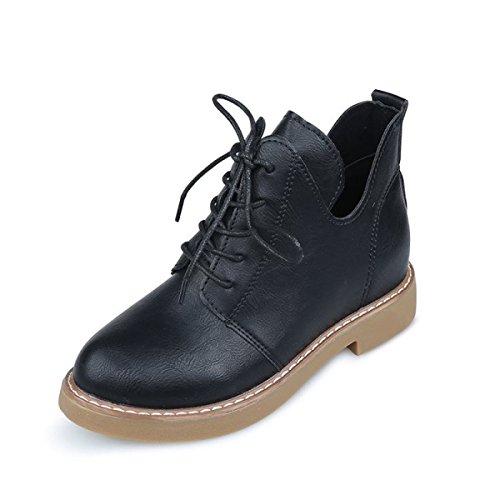 Herbst Und Winter Mode Retro Stiefel Frauen Flach Martin Stiefel Lässig Kurze Röhre Stiefel Studenten Schuhe Blackleather