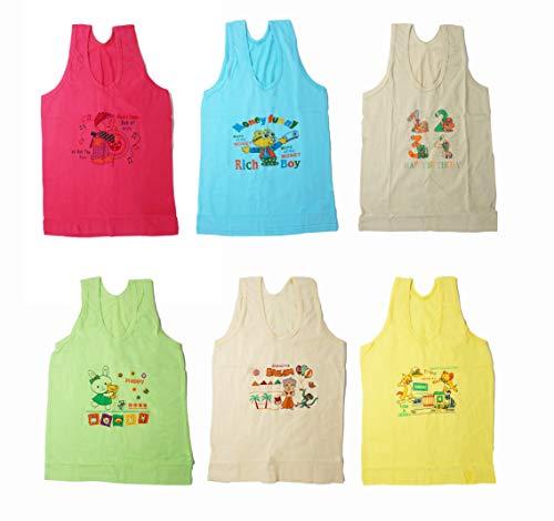 Y&N Coloured Toddlers Regular Fit Cotton Printed Sleevless Baniyan/Vest/Sando Innerwear for Kids/Boys Pack of 6