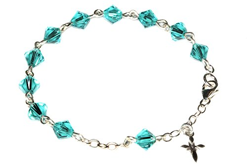 Child Rosary Bracelet made with Zircon Blue Swarovski Crystal Elements - December (Communion & more)