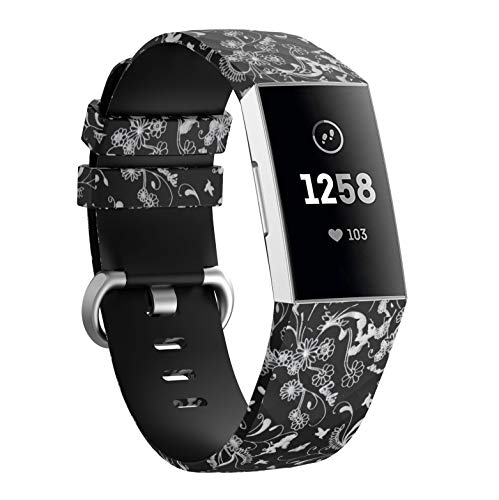 KisFace Accessaries for Charge 3 Bands,Photo Print Series Silicone Straps with Metal Buckle Design Small&Large for Fitbit Charge 3 Wristband(Flower&Bird)