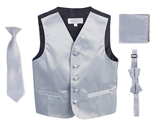 Gioberti Boys 4pc Satin Formal Vest Set, Silver, 14