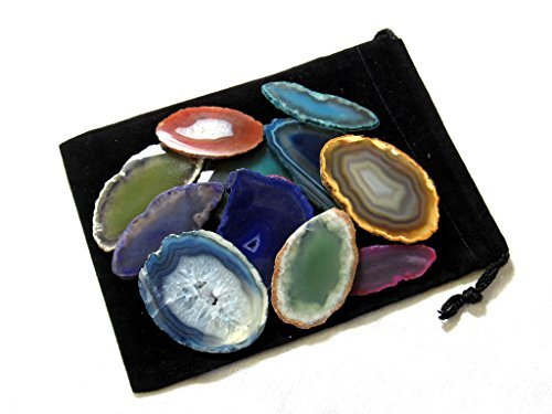Zentron Crystals Colorful Set of 12 Polished Agate Slices in Velvet Bag