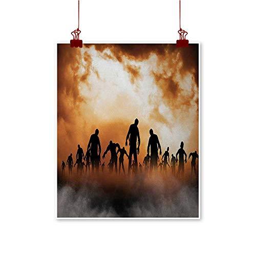 (Davishouse Halloween Modern Oil Paintings Zombies Dead Men Walking Body in The Doom Mist at Night Sky Haunted Theme Print Canvas Wall Art 20