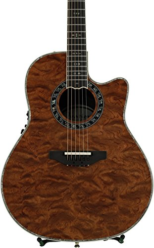 Ovation ExoticWoods Collection 6 String Acoustic-Electric Guitar, Right, Waterfall Bubinga ()